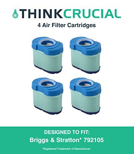 4 Durable Briggs & Stratton 276890, 792105, 4233, 5405H & 5405K Air Filter Cartridges Fit V-Twin 16.0-27.0 HP Engine, John Deere GY21057 & MIU11515, 5 x 2.75 x 4.75 in, Part # 792105, by Think Crucial