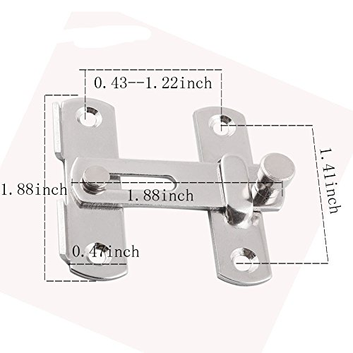 Mike Home Stainless Steel Latch Door Buckle Door Latch Door Bolt Sliding Door Bolt Safety Bolt 8 Pcs by Mike Home (Image #1)