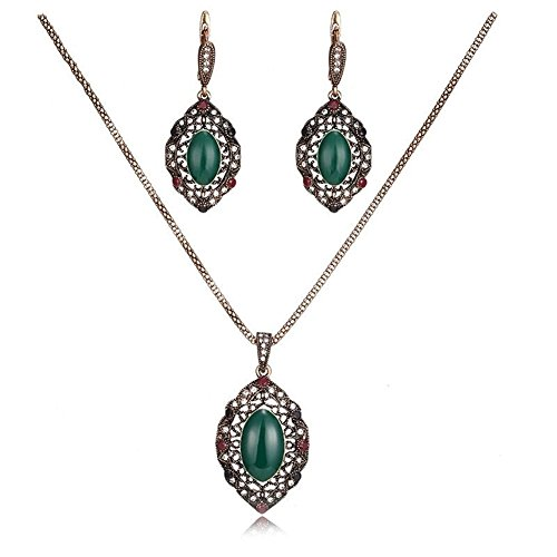 LUYUAN JEWELRY 18K Gold Plated Turkish Carved Leaf Green Gemstone Necklace and Earring Set, Vintage Colorful Women Jewelry Sets for Party -