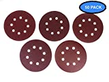 5 Inch 8 Hole Aluminum Oxide Premium Sanding Discs by Hitek 50PCS Assorted #60/120/150/220/320 Grits for Random Orbit Sanders