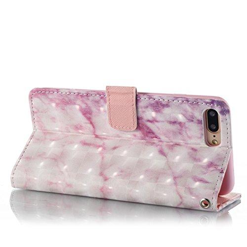 iPhone 8 Plus Hülle Rosa Marmor PU Leder Wallet Handytasche Flip Etui Schutz Tasche mit Integrierten Card Kartensteckplätzen und Ständer Funktion Für Apple iPhone 8 Plus + Zwei Geschenk
