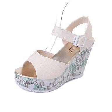 RUGAI-UE Moda de Verano Mujer sandalias casuales zapatos de tacones PU Confort,Sliver,US6 / UE36 / UK4 / CN36 Almond