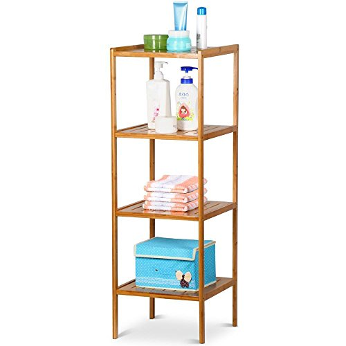 World Pride 4 Tier Bathroom Bamboo Tower Shelf Wooden Shower Organizer Shelving Stroage Shelves Unit (Bamboo Wicker Furniture)