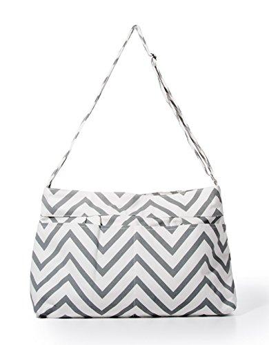 Price comparison product image Gray Chevron Tote Diaper Bag By White Elm