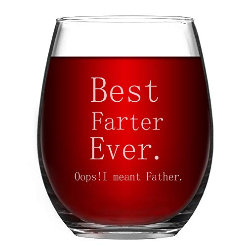 Wine Glasses Best Farter Ever I Mean Father Stemless Wine Tumbler Father's Day Daddy's Birthday Christmas Gift for Father Dad 15 Oz
