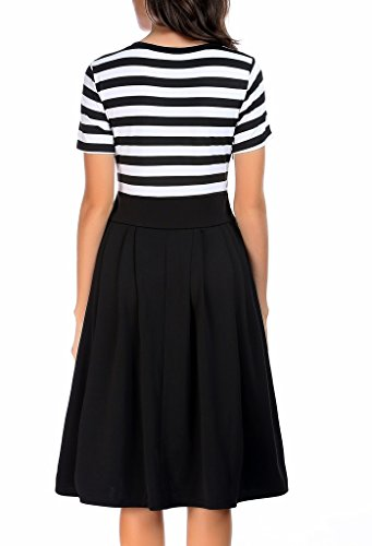 Neck Modest Dresses Scoop 1 Women's Sleeve Casual AAMILIFE black Short 4 3 Stripe Swing Long qtgPSp