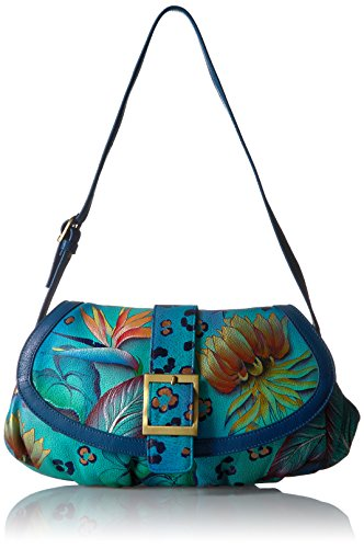 Ruched Flap (Anuschka Hand Painted Small Ruched Flap Handbag, Trd-Tropical Dream)