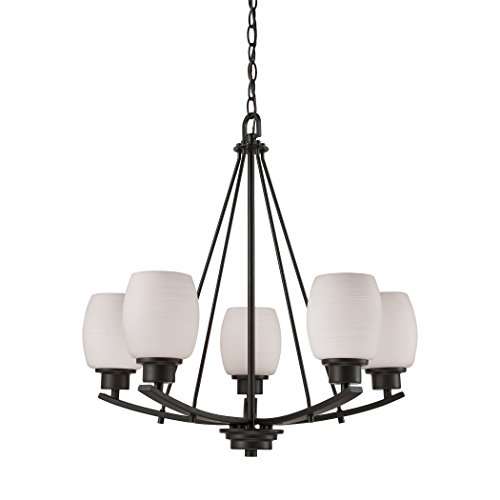 1 Casual Mission 5-Light Oil Rubbed Bronze with White Lined Glass Chandelier ()