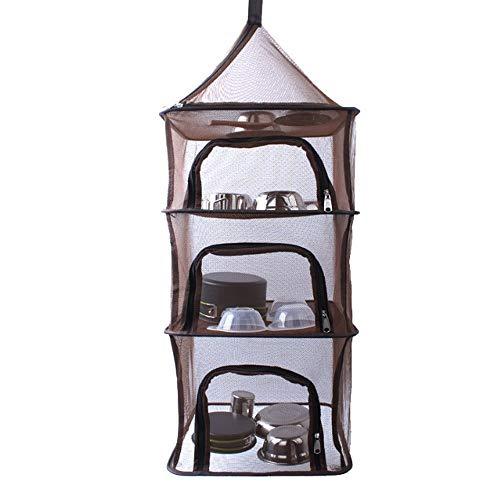 Jinsun Storage Bag Clothes Storage 4 Layer Dry Net Collapsible Mesh Drying Rack Multifunctional Hanging Dryer Net Zippers Storage Bag