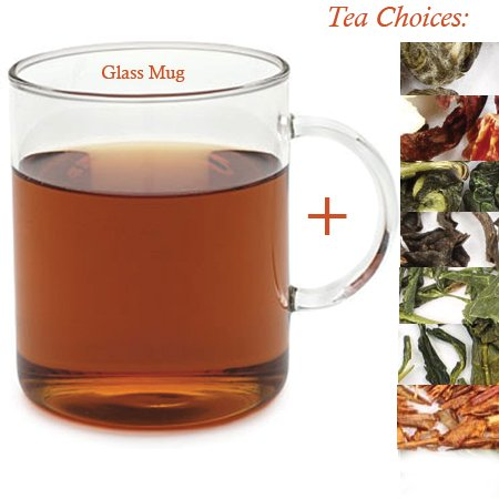 Tempered Glass Mug Set with (Jasmine Pearl Green Tea 1oz Tea Tin) (Glass Teas Teapot Adagio)