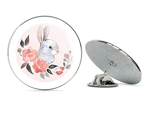 TG Graphics Pretty Pastel Spring Watercolor Art Icon - Bunny Rabbit and Flowers Metal 0.75