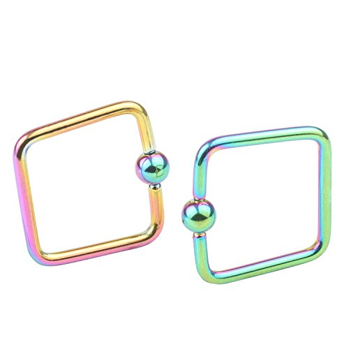 (16G Surgical Stainless Steel Square 3mm Captive Bead Rings Nose Belly Eyebrow Tragus Lip Ear Nipple Hoop Daith Ring BCR Body Piercing Jewelry)