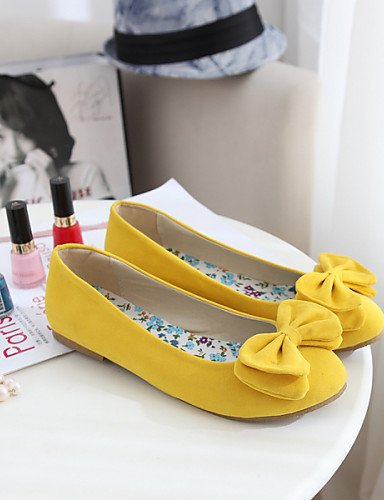 eu38 uk5 redonda punta plano piel cn38 rosa 5 de Flats sintética PDX amarillo mujer zapatos 5 yellow talón de Casual us7 marrón wqzHUC