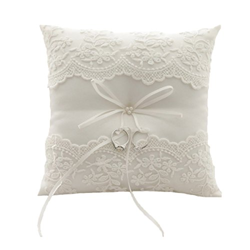 Wedding Flower Girl Ivory Satin Ring Bearer Pillow Ribbon Lace Ring Cushion Pillow (style6) by MissDaisy