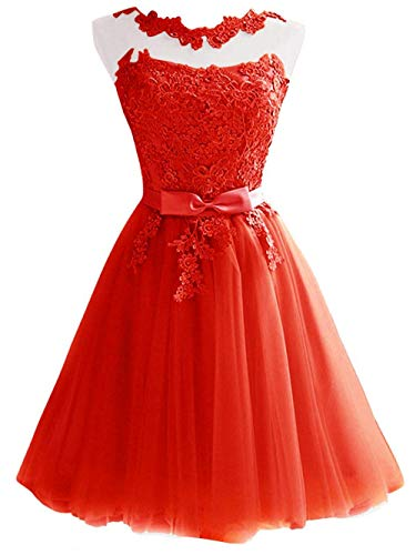 Jaeden Rouge Demoiselle Femme D'honneur De Tulle Fête Court Cocktail Robes Robe Bal SR6SrHaqp