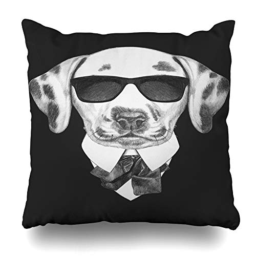 Ahawoso Throw Pillow Cover Domestic Baby Dalmatian Suit Mammal Black Bow Boy Character Design Drawing Home Decor Cushion Case Square Size 18 x 18 Inches Zippered Pillowcase