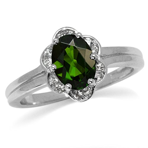 1.32ct. Green Chrome Diopside & White Topaz Gold Plated 925 Sterling Silver Flower Ring Size 7