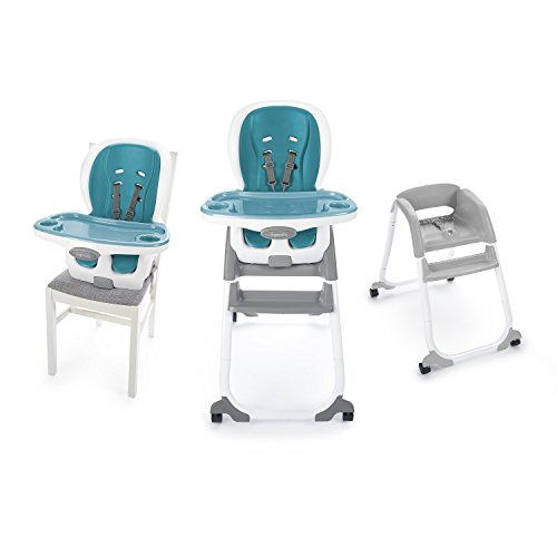 Ingenuity SmartClean Trio Elite 3-in-1 High Chair – Peacock Blue - High Chair, Toddler Chair, and Booster