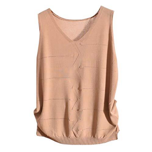 (ERLOU T-Shirts Women's Summer Fashion Casual O-Neck Solid Sleeveless Vest Tunic Tank Tops Blouse (Khaki, S))
