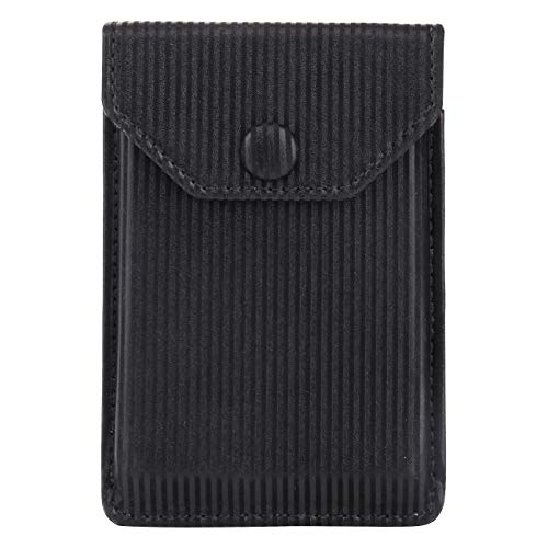 FRIFUN Card Holder for Back of Phone, Cell Phone Wallet Ultra-Slim Self Adhesive Credit Card Holder Stick on Wallet Cell Phone Leather Wallet for Smartphones Sleeve Covers Credit Cards(Black ()