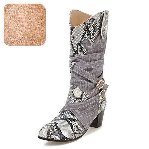 HAOLIEQUAN Größe 34-43 Runde Frauen High Heel Stiefel Runde 34-43 Kappe Buck Muster Wram Schuhe Mode Stiefel 519268