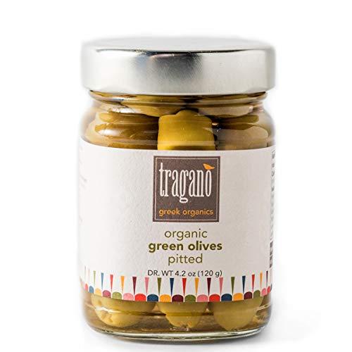 Tragano Greek Organics - Pitted Greek Green Olives | USDA-Certified Organic | 8 oz jar ()
