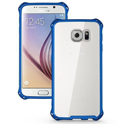 Galaxy S6 Case, BUDDIBOX® S6 Case Clear / Samsung Galaxy S6 **Crystal Clear** [Corner Series] Hybrid [Air Cushion] Drop Protection [Scratch Resistant] - Protective Clear Bumper Case for Samsung Galaxy S6 - Retail Packaging - Ultra Rugged Case for Samsung Galaxy S6 - Blue