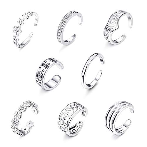 (Milacolato 8Pcs Adjustable Toe Rings for Women Girls Open Toe Ring Knuckle Ring Set)
