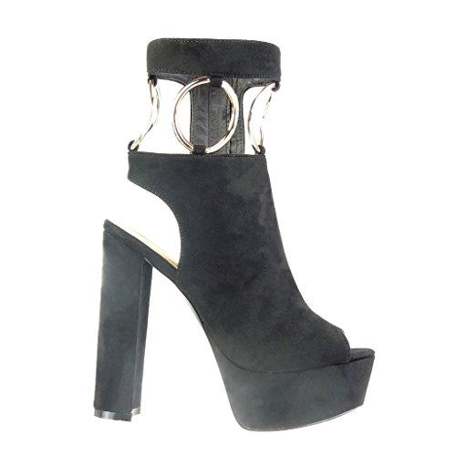 Angkorly - Chaussure Mode Bottine Sandale plateforme ouverte sexy femme boucle lanière doré Talon haut bloc 13.5 CM - Noir