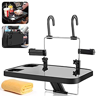 AutoChoice Foldable Car Seat Back Portable Tray for Food Dining Drink and Laptop, Hanging Car Steering Wheel Tray(Black)