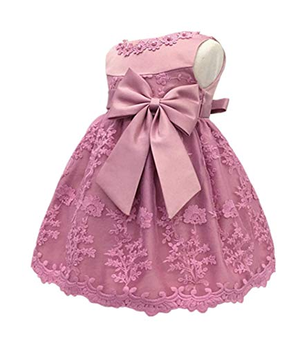 HX Baby Girl's Newborn Bowknot Gauze Christening Baptism Dress Infant Flower Girls Wedding Dresses 13 Color (12M/10-13 Months, Bean Powder)