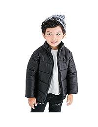 Muangan Baby Kid Girls Boys Winter Warm Child Cotton-padded Jacket Coat Snowsuit Outwear 3-7 years old (7T, Black)