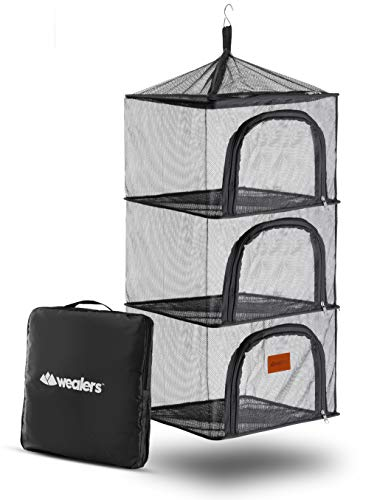 Wealers Dry Net Mesh Insects Food Screen, 4 Layer Outdoor Hanging Camping Organizer Camp Kitchen Accessories Dishes Clothing Food Vegetables Fruit Drying Rack Foldable Storage Home Camping Picnic BBQ