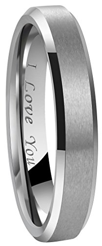 4mm 6mm 8mm Tungsten Wedding Couple Bands Rings Men Women Matte Brushed Finish Center Engraved