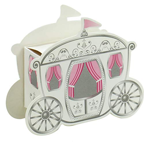 WSSROGY 50 PCS Paper Candy Box Wedding Favour Box Princess Fairytale Carriage Shape Wedding Gift Party -