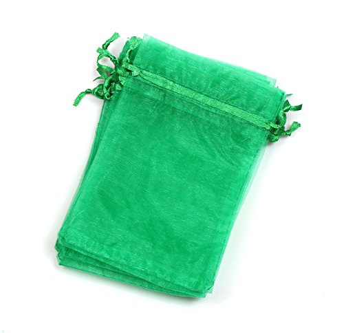 EDENKISS drawstring Organza Jewelry Pouch Bags (Green, 4X6'')