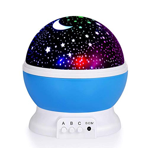 (Adoric 361 Night Lamp, Star Light Rotating Projector, 4 LED Bulbs 8 Modes for Children Kids Bedroom (3.2FT USB Cord))