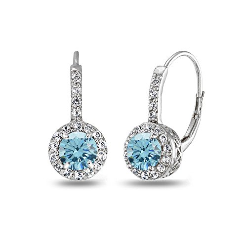 Sterling Silver Light Blue Halo Leverback Drop Earrings created with Swarovski Crystals