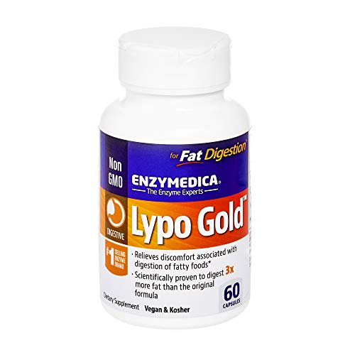 Enzymedica - Lypo Gold, Dietary Supplement to Support Fat Digestion, Vegan, Gluten Free, Non-GMO, 60 Capsules (60 Servings) (FFP)