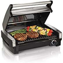 Hamilton Beach Electric Indoor Searing Grill with Removable Plates and Less Smoke, One Size, Brushed Metal