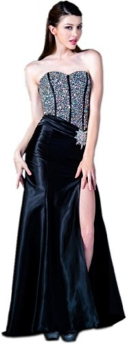 Meier Women's Beaded Strapless Corset Satin Gown