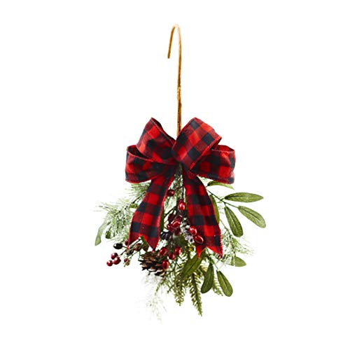 The Lakeside Collection Holiday Chair Accent Swag with Black & Red Checkered Bow - Furniture Decor (Christmas Sashes Chair)
