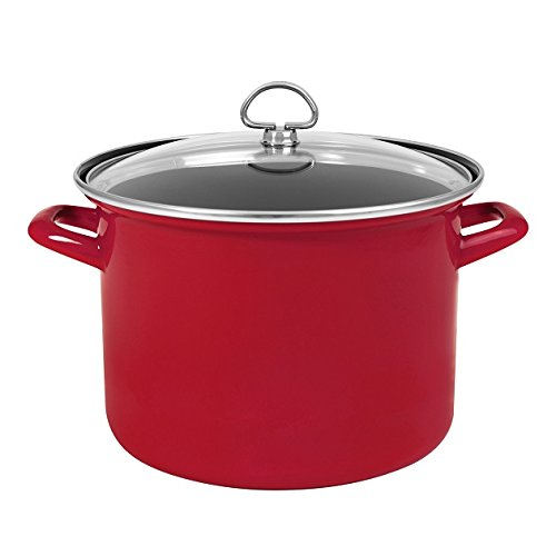 Chantal Enamel - Chantal Enamel-On-Steel 8-Quart Stockpot with Tempered Glass Lid, Chili Red