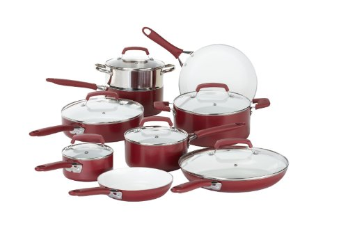 (WearEver 2100087606 15 Piece Ceramic PTFE PFOA & Cadmium Free Nonstick Cookware Set, Red)