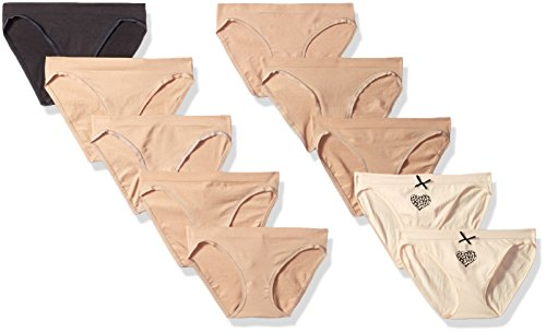 Barely There Women's 10-Pack Flex to Fit Seamless Bikini, Soft Taupe Animal Love Print/Sheer Latte/Black, 7
