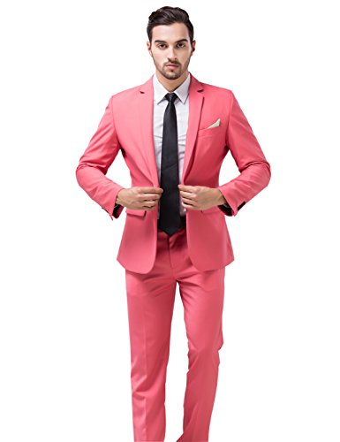 [Tsui-Fashion Men's New Casual Slim Fit Vest Business Suits XZ00170PK 42R XXL] (Pink Man Suit)