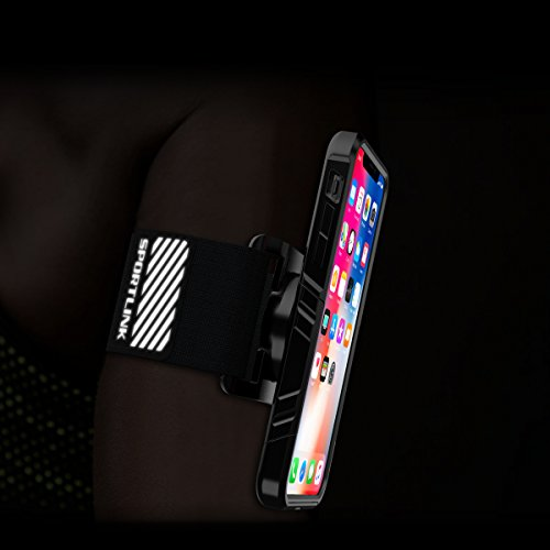iPhone X Armband, SPORTLINK Sports Wristband Dual Layer Rugged Case, Easy Mount Phone Holder Running Jogging Gym Exercise Workouts (Black) by Sportlink (Image #4)