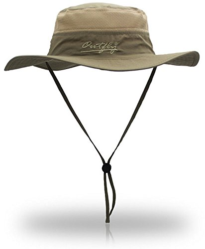 YOYEAH Outdoor UPF 55+ Boonie Hat Outdoor Mesh Sun Hat Bucket Hats Fishing Hats Dark Khaki