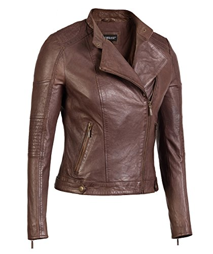 Brown Womens Asymmetrical Leather Jacket – Genuine Lambskin Leather (Large, Brown) (Brown Female Leather Jacket)
