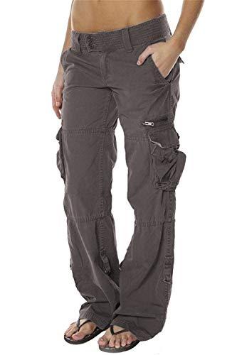 Volita Women's Casual Low Waist Cargo Pants Wide Leg Multi Pockets Cotton Trousers Dark Grey